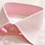 サーモンピンクのリネンシャツが仕上がりました。
